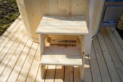 wood burning ofuro hot tub steps