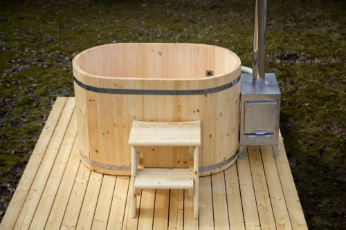 2 seat ofuro wooden hot tub