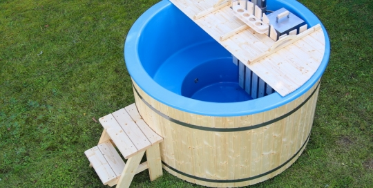 Fiberglass barrel hot tub wooden heater