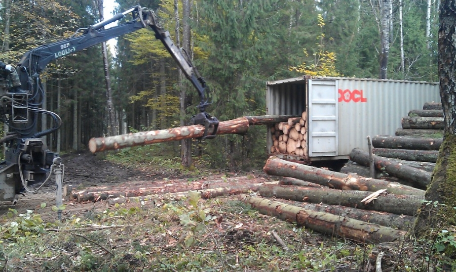 Wood loading into the container
