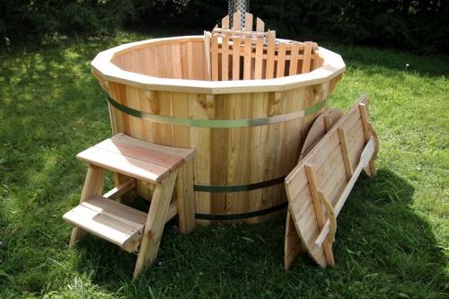 wooden hot tub garden