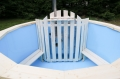 Wooden hot tub stove fence