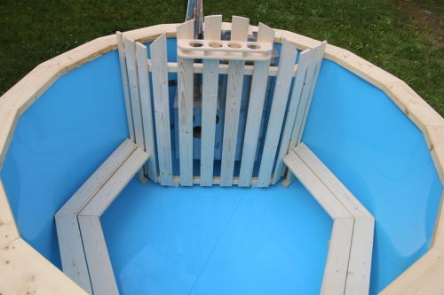 Polypropylene wooden hot tub with seats (bench)