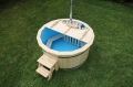 New outdoor polypropylene wooden hot tub with stairs