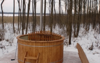 wooden hot tub snow