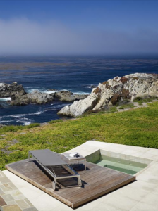 Outdoor wooden hot tub with beautiful view